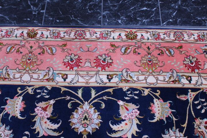 8x6 blue 350 KPSI Tabriz Persian rug, 50 raj handmade Tabriz carpet.