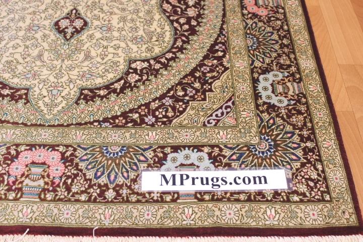 3x5 silk qum Persian rug with signature; Handmade Qum silk carpet