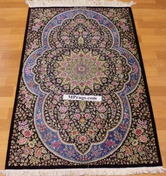 4x2 lilac blue silk qum Persian rug, signed qom carpet
