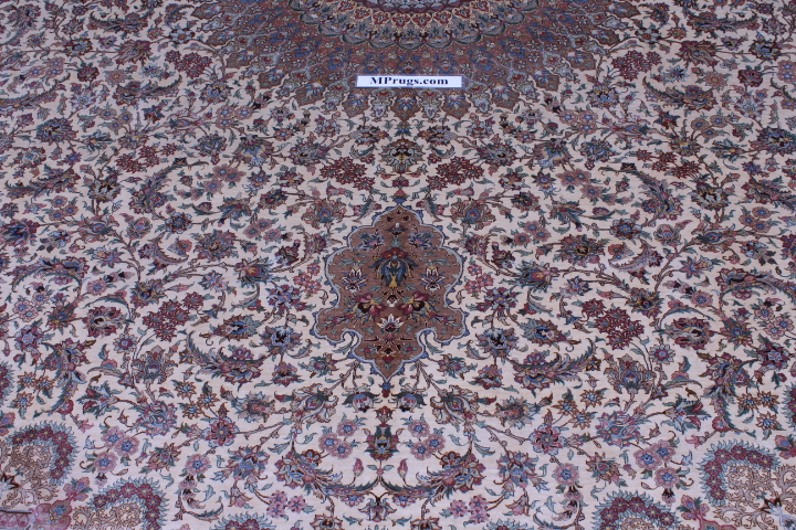 14x11 Qum silk Persian rug with 650 KPSI.