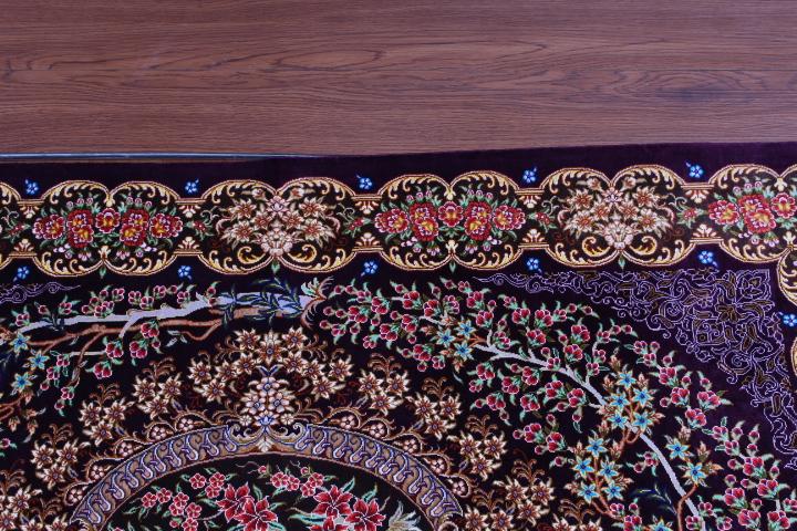4'x2' pure silk Qum Persian rug with 700 kpsi