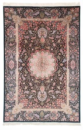 7x5 dark colored Qom silk Persian rugs. Pure Silk Qum Persian carpet with over 700KPSI.