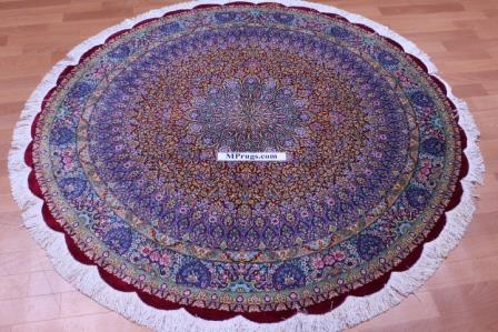 5' (1,5m) round silk Qum Persian rug with 700 KPSI & Signature