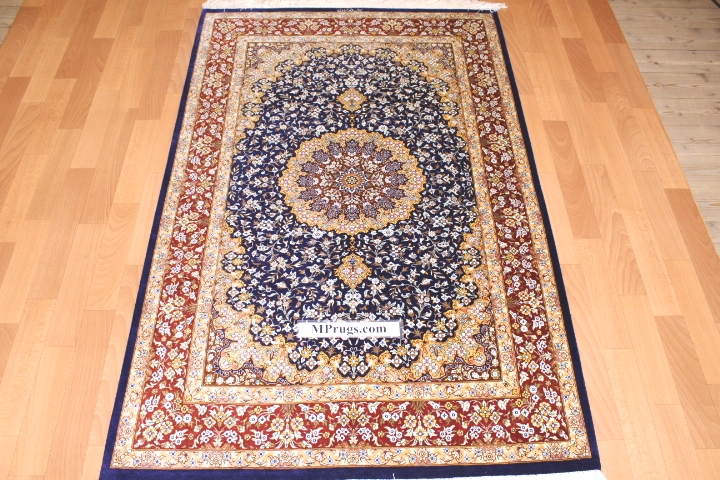 3x5 800 kpsi qum Persian rug with signature; masterpiece Qum silk carpet