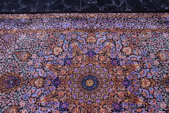 5'x3' pure silk Qum Persian rug with signature