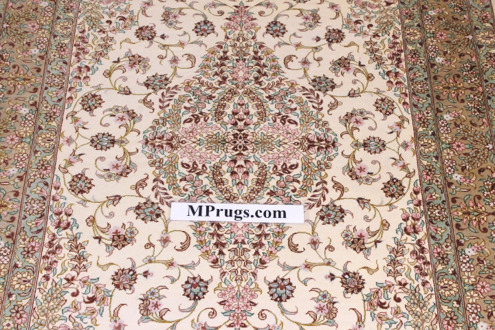 3x5 silk light colored qum Persian rug with signature