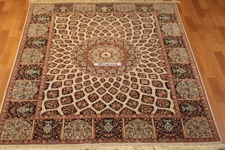 Silk Gonbad Tabriz Persian rug, 400kpsi Gombad 60 raj carpet.