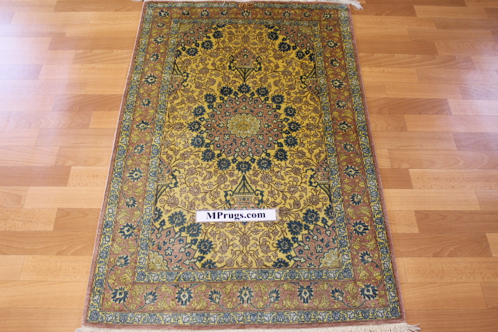 4x2 silk qum Persian rug with 600 kpsi