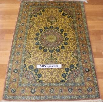 4x2 silk qum Persian rug with 600 kpsi