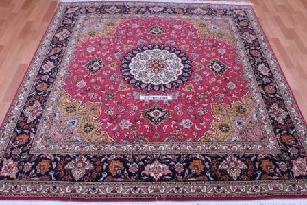 Square Tabriz Persian rug, silk square Tabriz carpet.