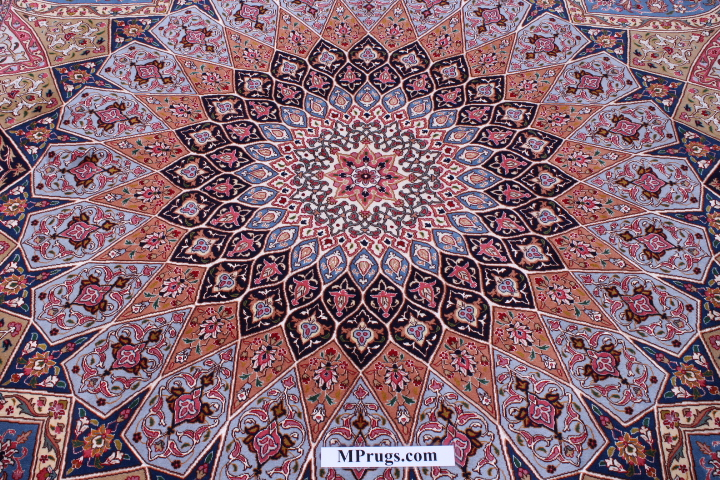 10x8 Gonbad Tabriz Persian rug. Dome Design Gombad Tabriz Persian carpet.
