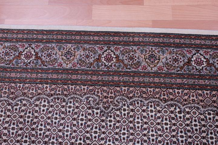 Beige Brown Pirouzian Mahi Tabriz Persian rug. Signed Mahi Tabriz Persian carpet.