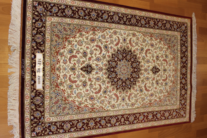 3x5 silk qum Persian rug with signature