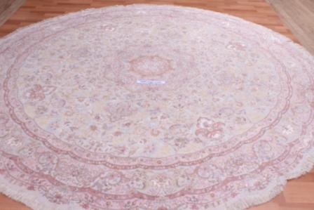 60 Raj round silk Tabriz Persian rug made by shirfar. Beige round Tabriz Persian carpet.