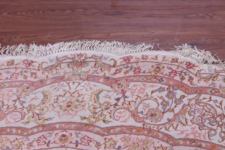 60 Raj Round Shifar Tabriz Persian rug with a silk foundation. Round Beige Shifar Tabriz Persian carpet.