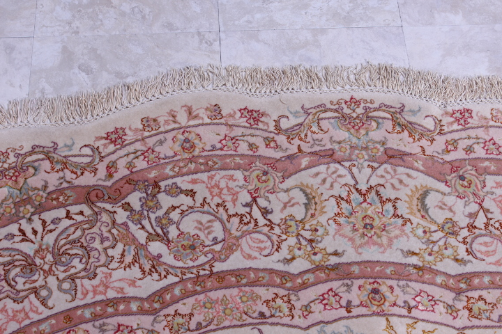 60 Raj Round Shifar Tabriz Persian rug with a silk foundation. Round Beige Shifar Tabriz Persian carpet.