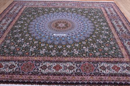 10x10 3m square 700kpsi Masterpiece Gonbad Tabriz Persian rug.