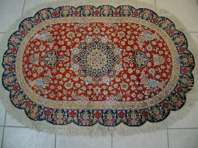 OVAL PERSIAN CARPETS. Click on picture or text to read and see more about Oval Persian carpets. Oval Persian rugs are very rare due to the difficulty in weaving and most oval rugs like this Qum rug are truly novelty items.