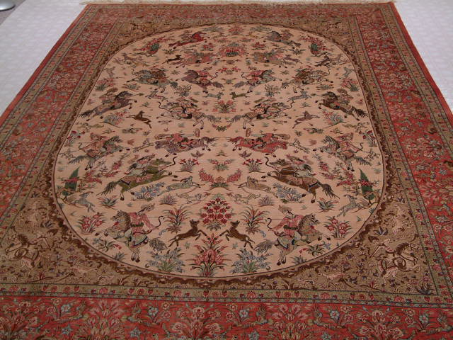 Qom Persian carpet #5128. Handmade Persian carpet made of pure silk. Example of pictorial Persian carpets.