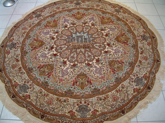 Round Persian carpet. One of many round persian carpets that I have offered in the past. Tabriz Persian carpet.
