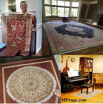 Persian rugs displayed in homes.
