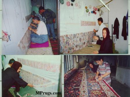 Persian rug weavers making Persian carpets by hand.