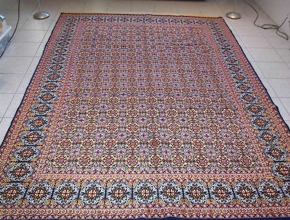 One of my more unusual Tabriz metal carpets is this 7x10 rug from several years ago. Made with a very unique design, I have not been able to find one like it and it is in my opinion one of the most unique Persian carpets that I have ever offered.