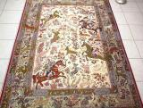 QUM HUNTING CARPETS. Click on picture or text to read and see more about Persian Hunting Carpets. Most hunting rugs like this Qom carpet are made of pure silk and are very high quality Persian carpets.