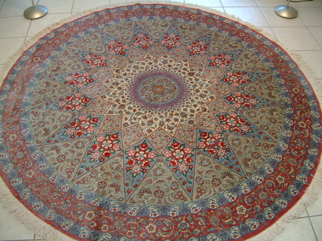Round Qom Persian rug. All of my Qom Persian rugs are made of pure silk. Silk Persian rug.