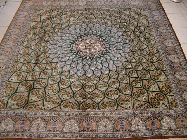 Large Square Pure Silk Qom Persian Rug With A Geometric Design Called Gombad Or Gombardeh