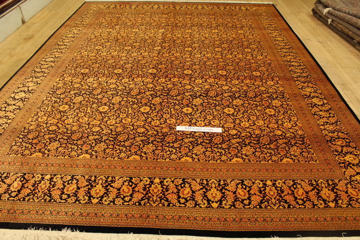 13x9 black gold Qom silk Persian rug with 700KPSI. Pure Silk Qum Persian carpet with black gold colors.