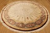 Large 8' round Qom silk Persian rug showpiece. Amazing 8' Round pure Silk Qum Persian carpet.