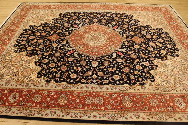 50 Raj Tabriz Persian rug in 10x8 size. High Quality black Tabriz Persian carpet with silk