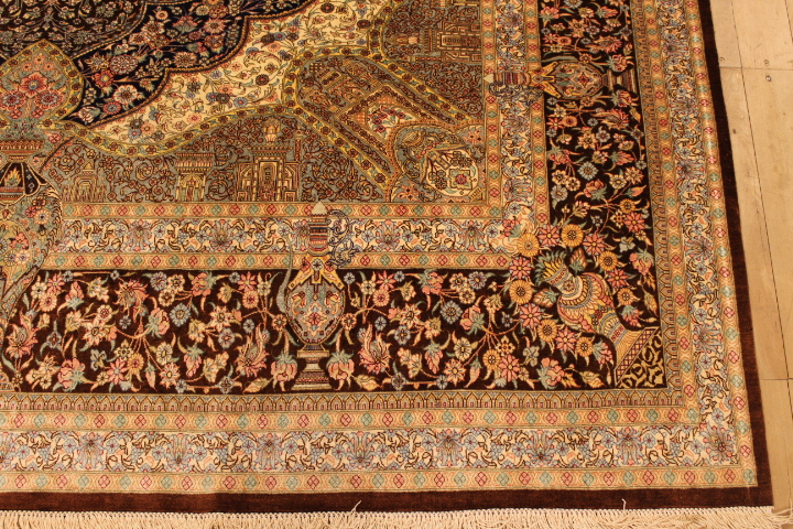 7x5 brown Qom silk Persian rugs. Pure Silk Qum Persian carpet with over 900KPSI.
