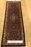 5' silk qom Persian rug runners red gold; pure silk Qum Persian carpet runners. Genuine pure silk qom Persian rug runner