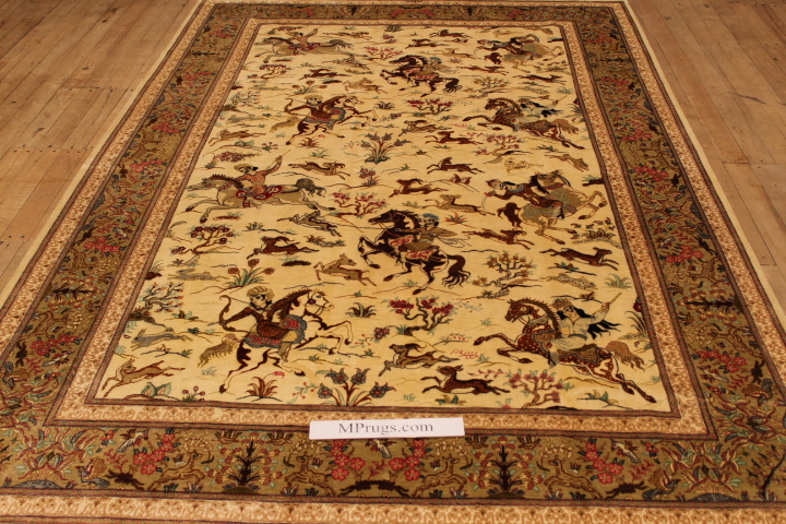 9x6 Large Pictorial Qom Hunting Rug, Pure Silk Qum Hunting Carpet,  Pictorial Persian Carpet