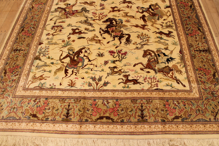 Pictorial Hunting Qom Persian Rugs Silk Hunting Qum