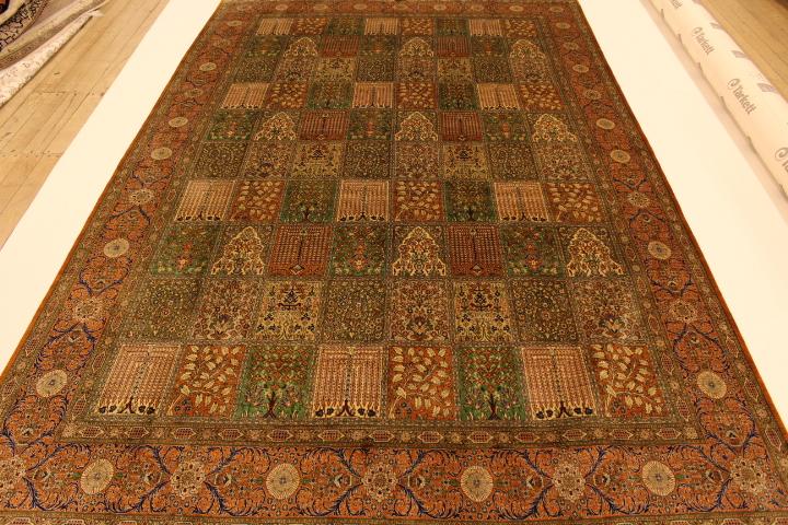 Large floral tile design Qom silk Persian rugs. Pure Silk floral Qum Persian carpet with tile pattern.