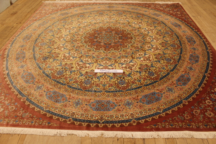 10' large square Qom silk Persian rugs. Square pure Silk Qum Persian carpet.