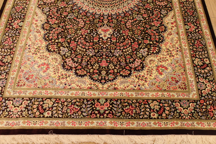 7x5 brown silk qom Persian rug; pure silk Qum Persian carpet. Genuine brown pure silk qom Persian rug
