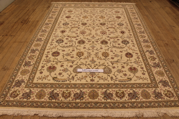 55 Raj Faraji Tabriz Persian rug with a silk foundation. 9x6 silk Faraji Tabriz Persian carpet.