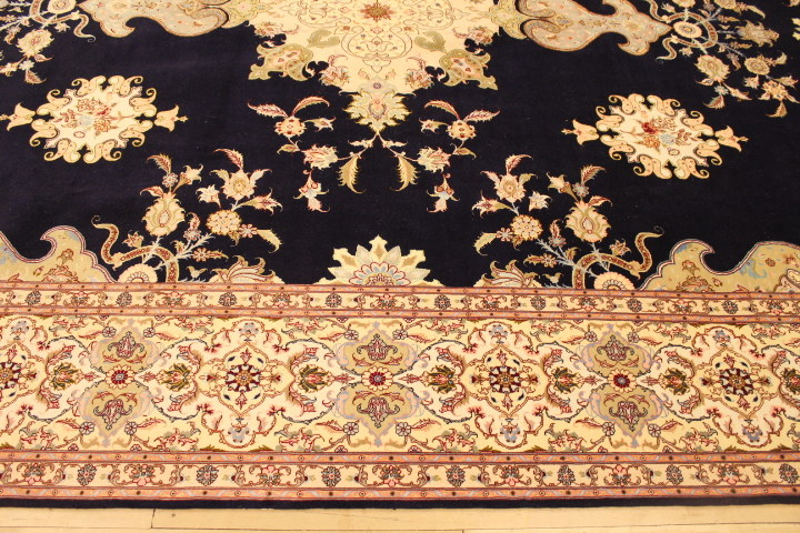 55 Raj Tabriz Persian rug with a silk foundation. 13x10 silk Tabriz Persian carpet