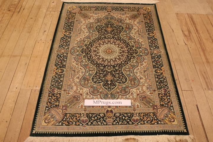 5x3 silk qom Persian rug with 900-1000kpsi; dark green pure silk Qum Persian carpet. Genuine pure silk qom Persian rug