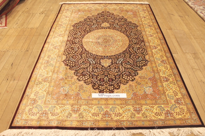 Gold red 7x5 Qom silk Persian rugs. Pure Silk Qum Persian carpet with gold and red colors.