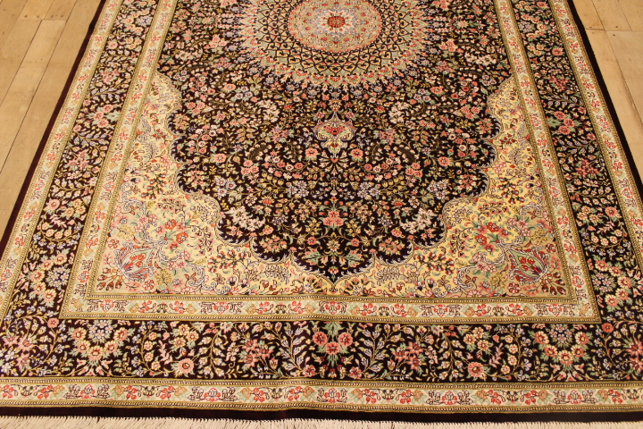 7x5 brown Qom silk Persian rugs. Pure Silk Qum Persian carpet with over 600KPSI.