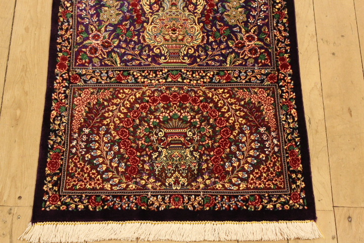 5' silk qom Persian rug runners 1000kpsi; pure silk Qum Persian carpet runners. Genuine pure silk qom Persian rug runner