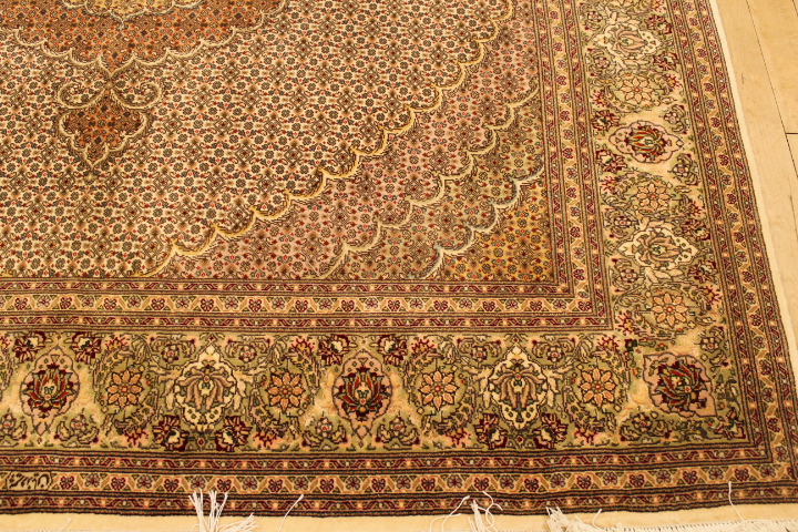 Square Pirouzian Mahi Tabriz Persian rug. Signed Mahi Tabriz Persian carpet.