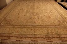 80 Raj Shifar Tabriz Persian rug with a silk foundation. Beige Shifar Tabriz Persian carpet.