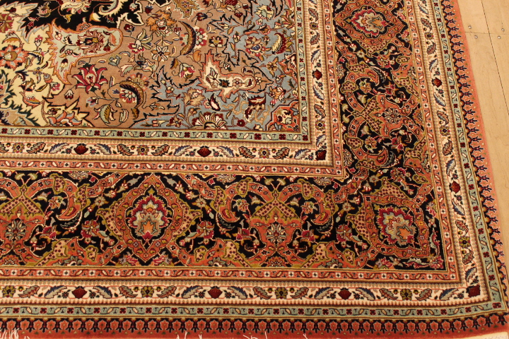 55 Raj Tabriz Persian rug with a silk foundation. Masterpiece Tabriz Persian carpet.