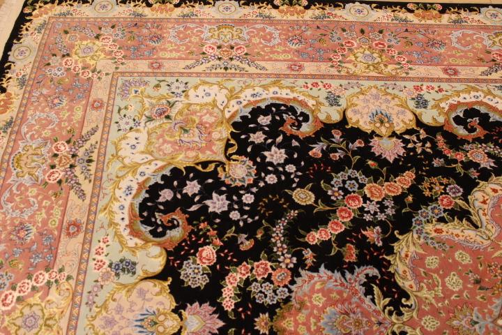 70 Raj Tabriz Persian rug with a silk foundation. Masterpiece Tabriz Persian carpet.